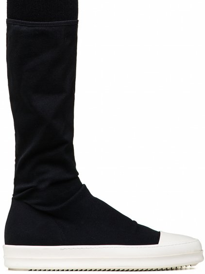 DRKSHDW SOCK SNEAKERS IN BLACK STRETCH CANVAS