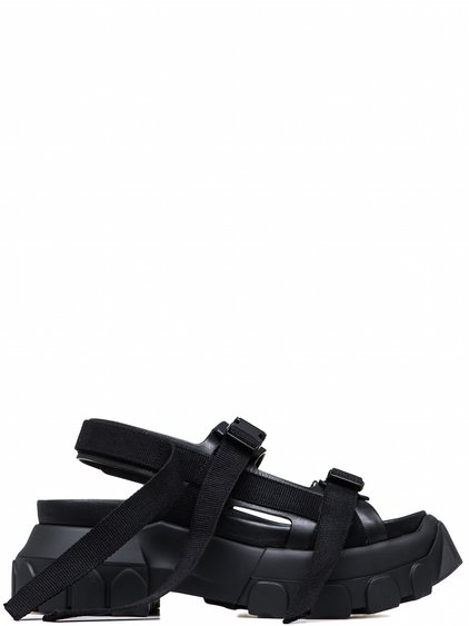 RICK OWENS OFF-THE-RUNWAY HIKING SANDALS IN BLACK