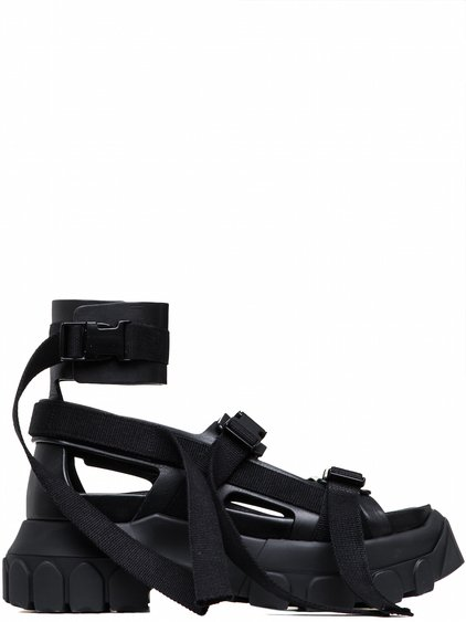 RICK OWENS OFF-THE-RUNWAY HIKING SPARTAN SANDALS IN BLACK