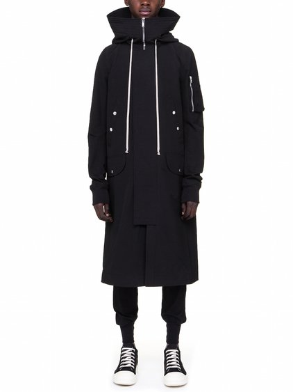DRKSHDW HOODED BOMBER LONG IN BLACK MICRO
