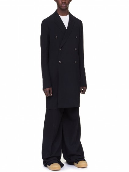 RICK OWENS JMF PEACOAT IN BLACK LIGHT WOOL VISCOSE