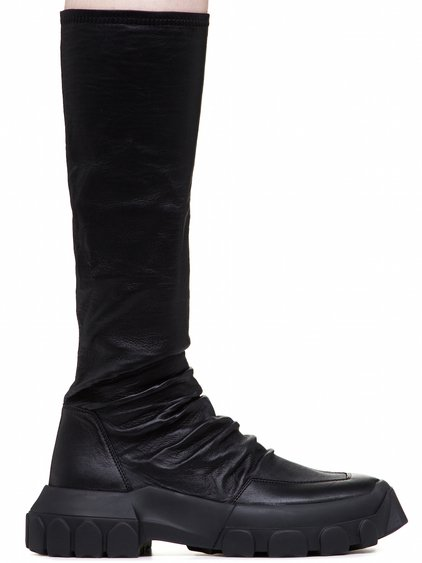 RICK OWENS OFF-THE-RUNWAY STRETCH HIKING SOCK SNEAKERS IN BLACK