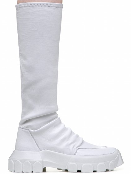 RICK OWENS OFF-THE-RUNWAY STRETCH HIKING SOCK SNEAKERS IN WHITE