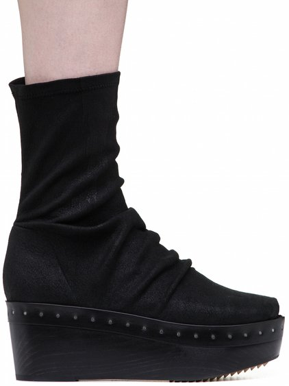 RICK OWENS SOCK SABOTS IN BLACK STRETCH BLISTER LAMB LEATHER