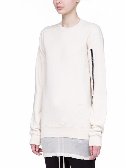 DRKSHDW CREWNECK SWEAT IN NATURAL WHITE HEAVY COTTON JERSEY