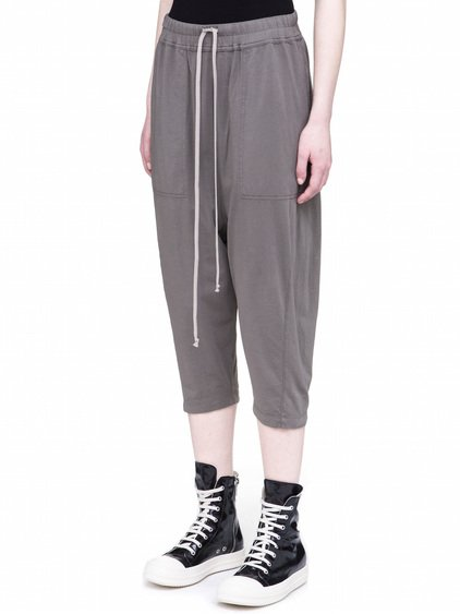 DRKSHDW DRAWSTRING CROPPED PANTS IN DUST GREY COTTON