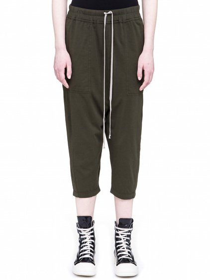DRKSHDW DRAWSTRING CROPPED PANTS IN FOREST GREEN COTTON