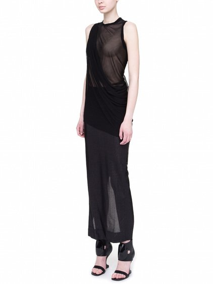 RICK OWENS LILIES TOP IN BLACK VISCOSE GAZAR IS SLIGHTLY TRANSPARENT
