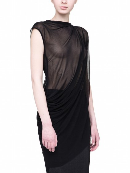 RICK OWENS LILIES TOP IN BLACK VISCOSE GAZAR IS A SLIGHTLY SEE-THROUGH TOP