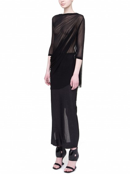 RICK OWENS LILIES 3/4 SLEEVES T-SHIRT IN BLACK EXTRA LIGHT SILK