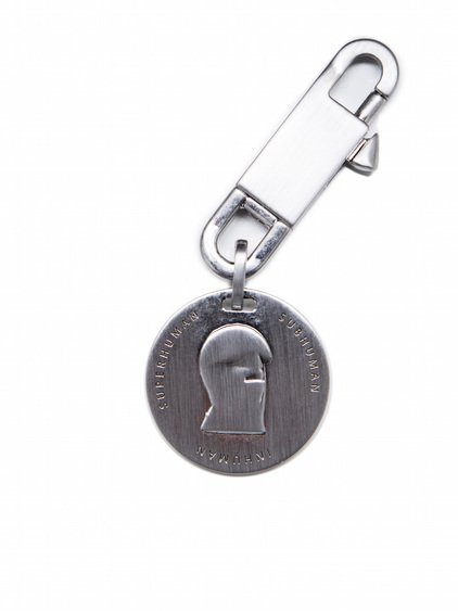 RICK OWENS THAYAHT SMALL MEDAL KEYCHAIN IN SILVERY BRASS