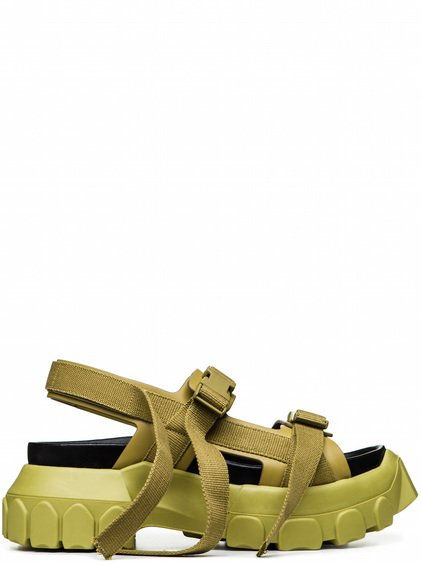 RICK OWENS OFF-THE-RUNWAY HIKING SANDAL IN ACID YELLOW