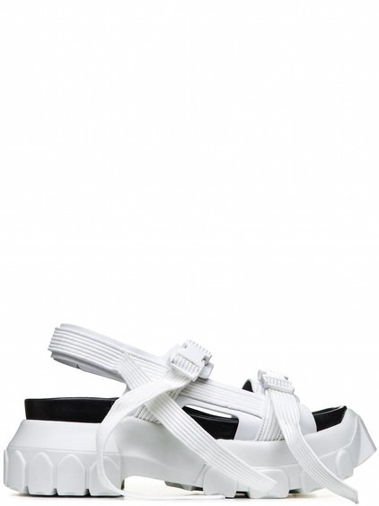 RICK OWENS OFF-THE-RUNWAY HIKING SANDALS IN CHALK WHITE