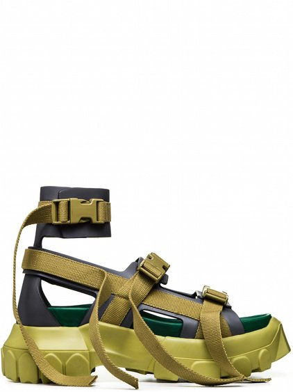 e7b9707588f1 RICK OWENS OFF-THE-RUNWAY STRETCH HIKING SOCK SNEAKERS IN ACID YELLOW. RICK  OWENS. SANDAL