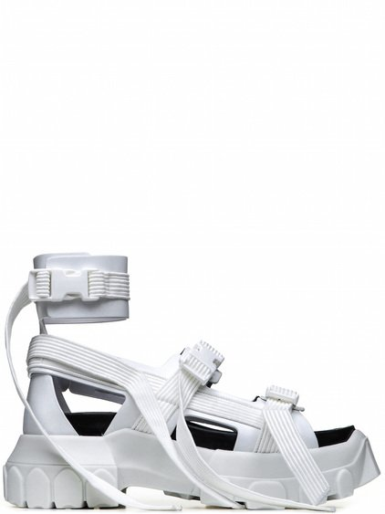 RICK OWENS OFF-THE-RUNWAY HIKING SPARTAN SANDALS IN CHALK WHITE
