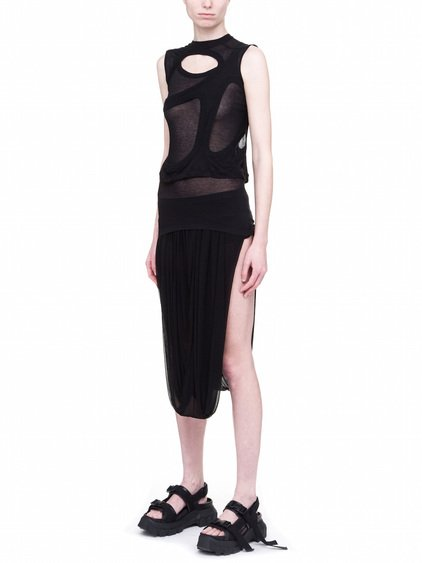 RICK OWENS OFF-THE-RUNWAY MEMBRANE TEE IN BLACK UNSTABLE COTTON
