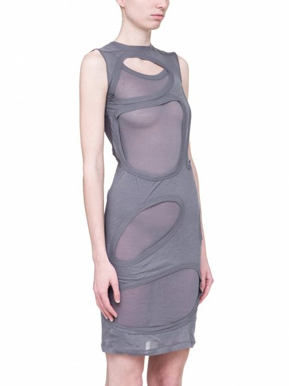 "RICK OWENS OFF-THE-RUNWAY MEMBRANE DRESS TEE IN ""BLU"" LIGHT GREY UNSTABLE COTTON"