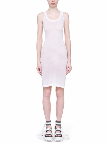 RICK OWENS OFF-THE-RUNWAY MEMBRANE DRESS TEE BASE IN CHALK WHITE