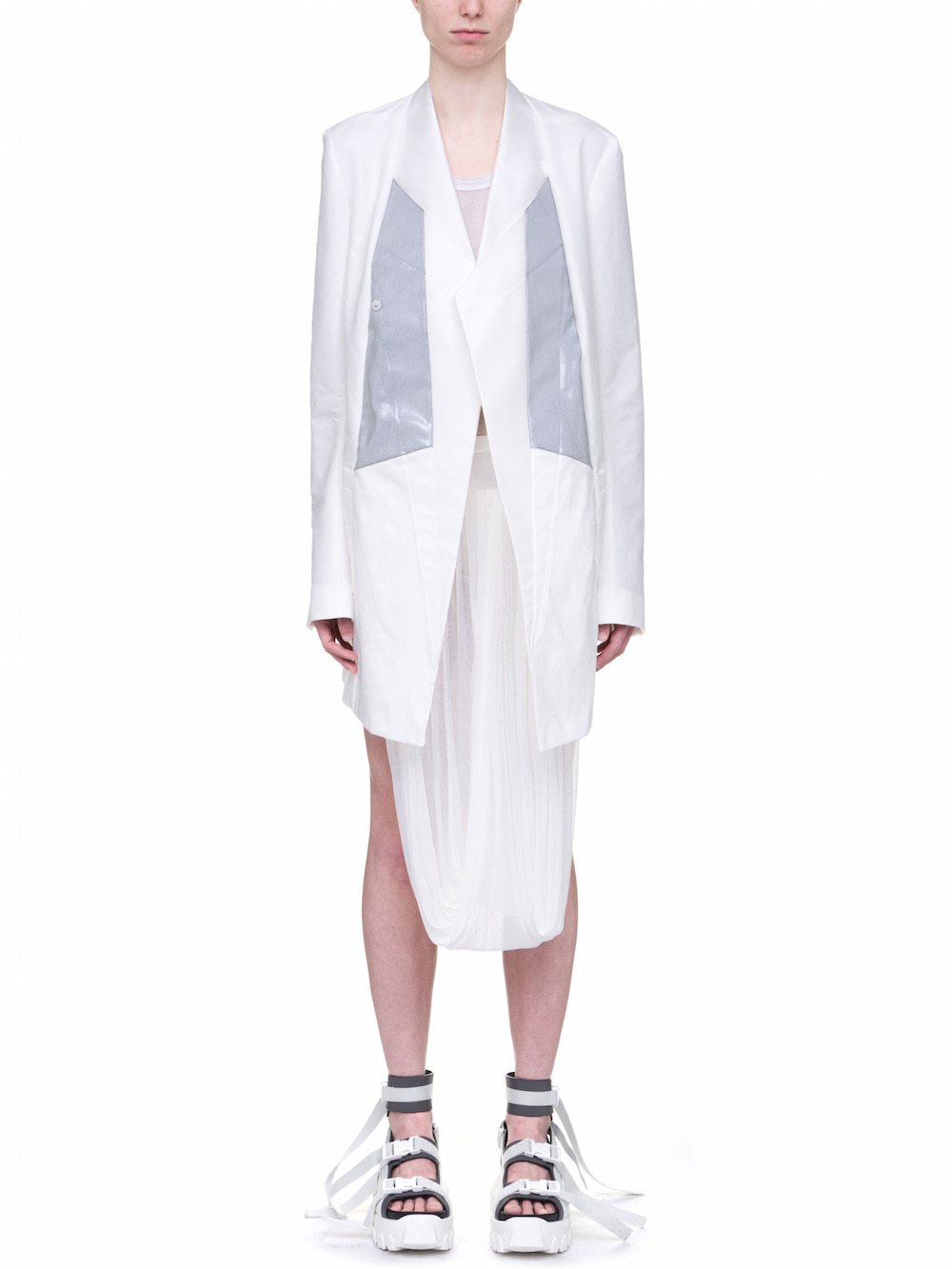 RICK OWENS OFF-THE-RUNWAY BROTHER BLAZER IN CHALK WHITE