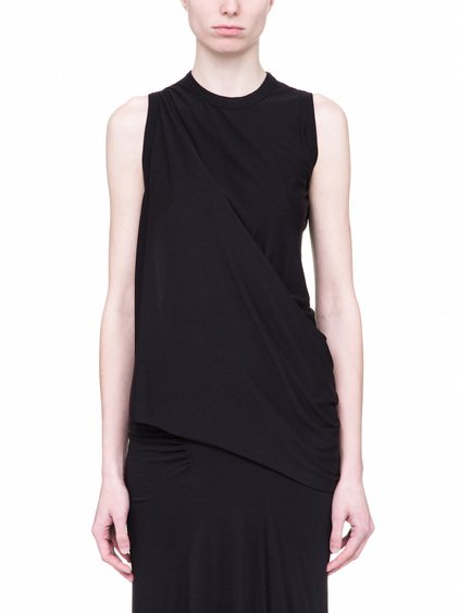RICK OWENS DIRT TOP IN BLACK COTTON IS SLEEVELESS