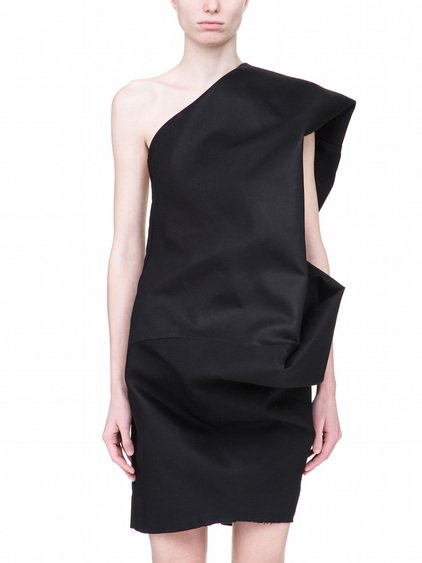 RICK OWENS OFF-THE-RUNWAY BOUQUET TUNIC IN BLACK IS A ONE-SHOULDER TUNIC