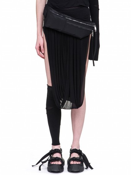 RICK OWENS OFF-THE-RUNWAY MONEY BELT IN BLACK TECH CANVAS