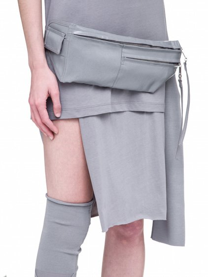 RICK OWENS OFF-THE-RUNWAY MONEY BELT IN STONE GREY
