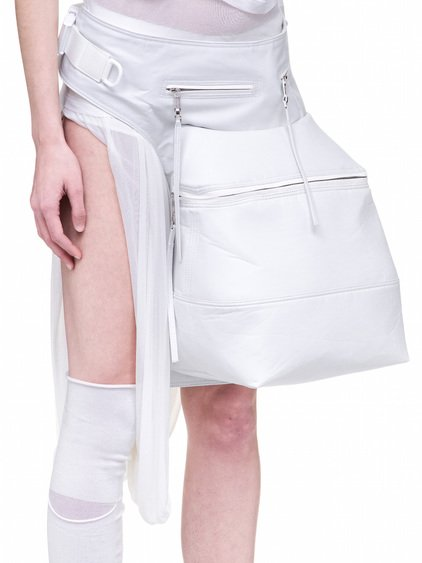 RICK OWENS OFF-THE-RUNWAY CARGO CHAP IN CHALK WHITE TECH CANVAS