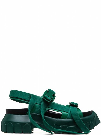 RICK OWENS OFF-THE-RUNWAY HIKING SANDALS WHEATGRASS GREEN