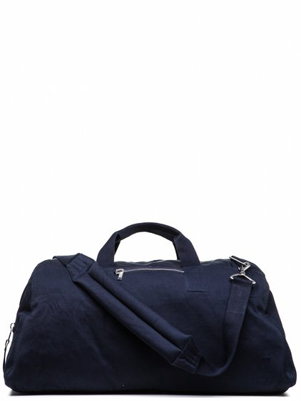 DRKSHDW WEEKENDER BAG IN PASSPORT BLUE DOUBLE TWIST COVER COTTON