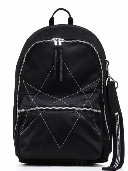 "DRKSHDW BACKPACK IN BLACK DOUBLE TWIST COVER COTTON FEATURES A TWO WAY ZIPPER CLOSURE A HANDLE AND A PEARL GREY MICRO ""GYM"" EMBROIDERY DETAIL."