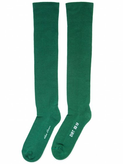 RICK OWENS OFF-THE-RUNWAY DIRT SOCKS IN WHEATGRASS GREEN COTTON