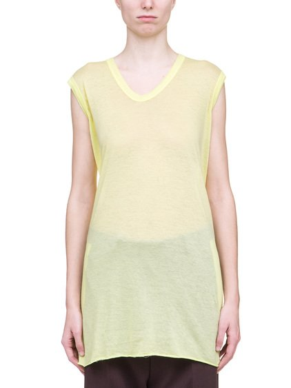 RICK OWENS V NECK SLEEVELESS TEE IN YELLOW