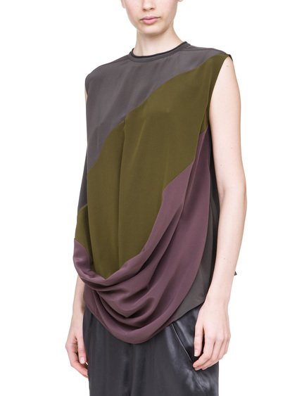 RICK OWENS TOP IN SILK  A MULTI-COLOR FRONT PART