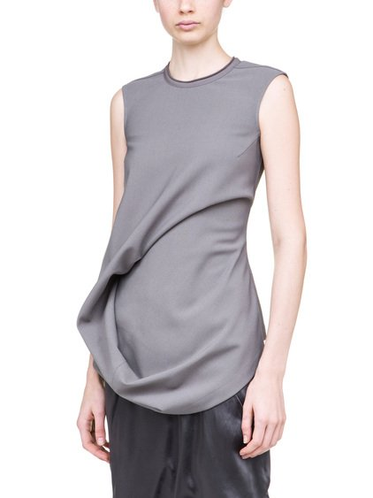 RICK OWENS ELLIPSE TOP IN GREY IS SLEEVELESS