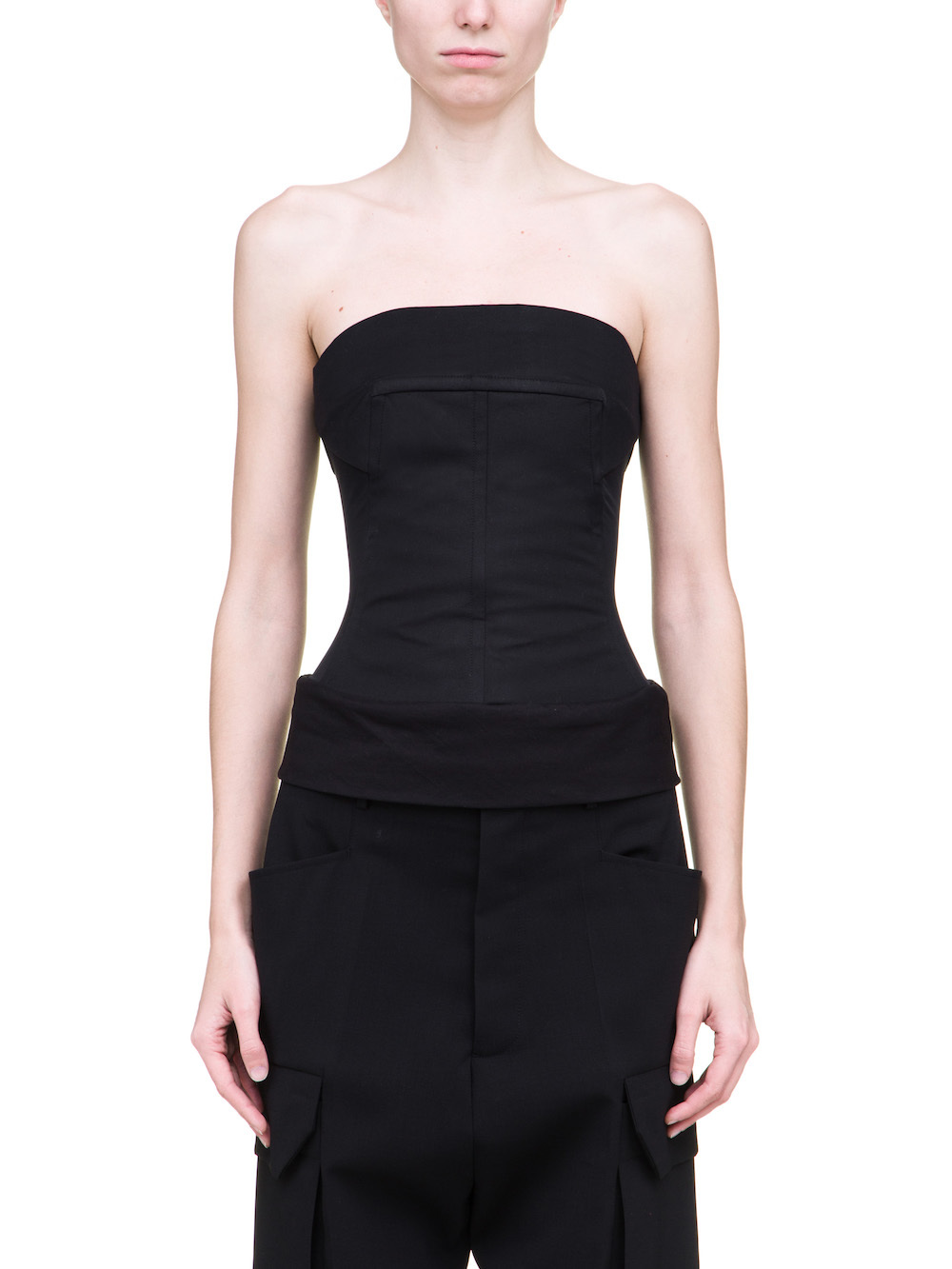 RICK OWENS BUSTIER TOP IN BLACK