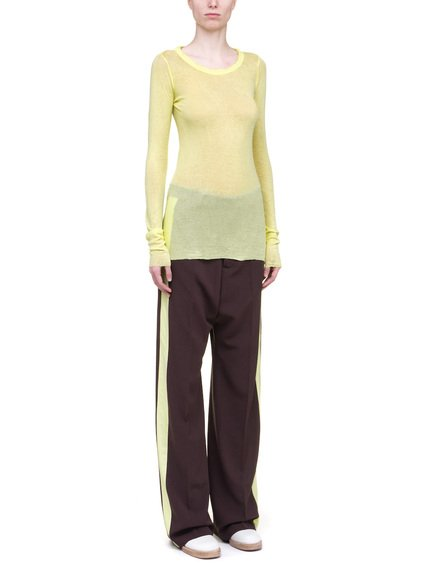 RICK OWENS LONG SLEEVE RIB TEE IN YELLOW MINI RIB COTTON