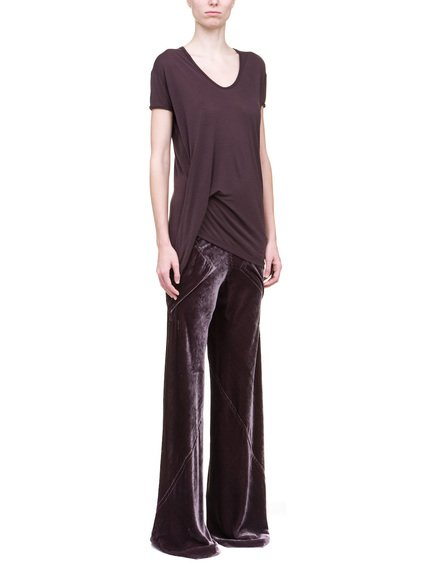 RICK OWENS HIKED TEE IN PURPLE SILK