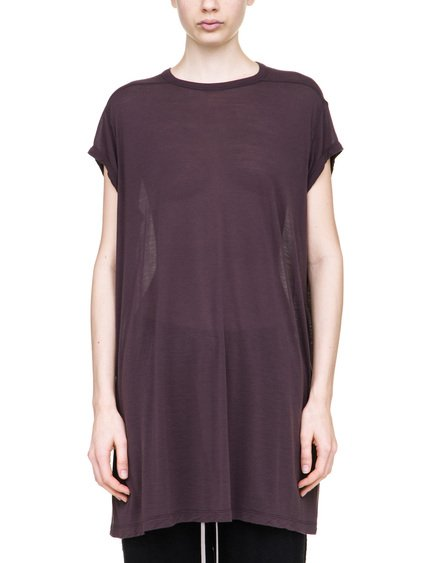RICK OWENS T-SHIRT IN PURPLE VISCOSE SILK