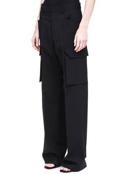 RICK OWENS TAILORED CARGO TROUSERS IN BLACK HAVE A LONG LENGTH