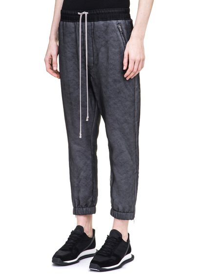 RICK OWENS TRACK PANTS IN BLACK SILK ORGANZA
