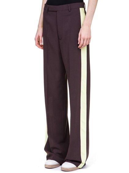 RICK OWENS TUX TROUSERS IN PURPLE CREPE BIG LEGS WITH A YELLOW STRIPE