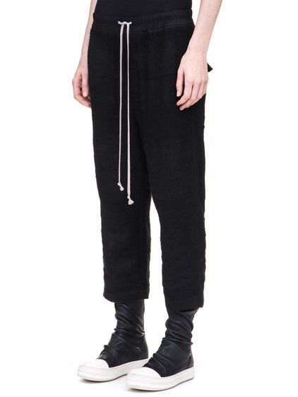 RICK OWENS DRAWSTRING ASTAIRE CROPPED TROUSERS IN BLACK CAMEL PLAID