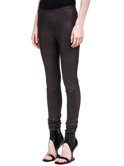 RICK OWENS LEGGINGS IN GREY STRETCH LAMB LEATHER