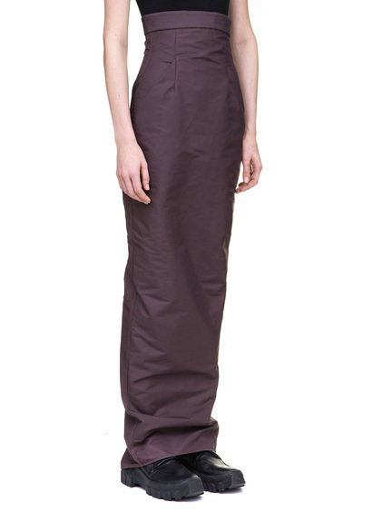 RICK OWENS DIRT PILLAR SKIRT IN PURPLE TECH CANVAS