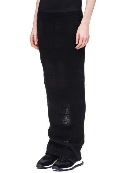 RICK OWENS SOFT PILLAR LONG SKIRT IN BLACK CAMEL PLAID