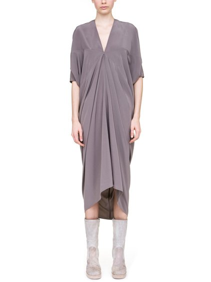 RICK OWENS KITE DRESS IN DUST GREY SILK CREPE