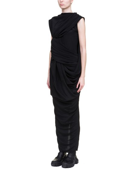 RICK OWENS BRANCH DRESS IN BLACK SILK