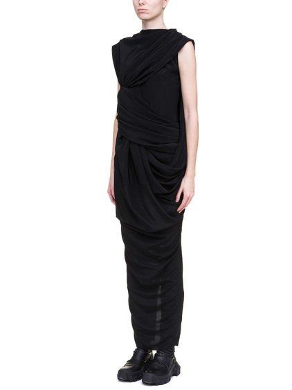 RICK OWENS BRANCH DRESS IN BLACK SILK