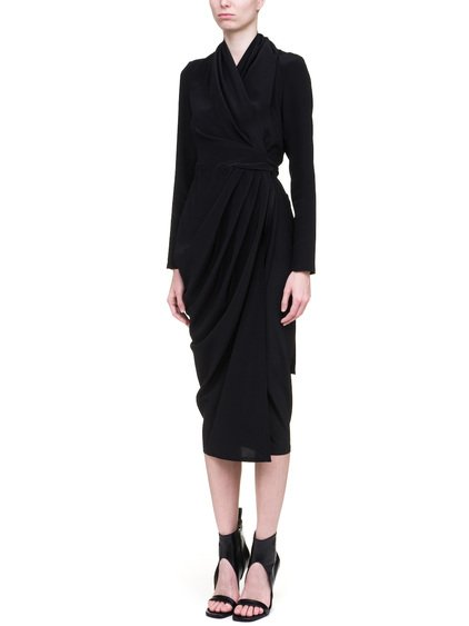 RICK OWENS WRAP DRESS IN BLACK SILK CREPE